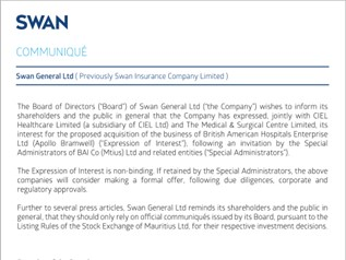 COMMUNIQUÉ - Swan General Ltd ( Previously Swan Insurance Company Limited )