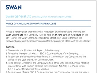 SWAN General Ltd - Notice of Annual Meeting of Shareholders - 4 May 2015