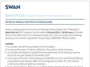 SWAN Life Ltd - Notice of Annual Meeting of Shareholders - 4 May 2015