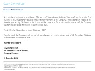Dividend Announcement - Swan General Ltd